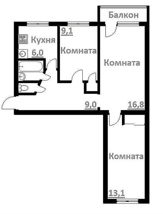 Екатеринбург, ул. Замятина, 36 (Эльмаш) - фото квартиры (1)