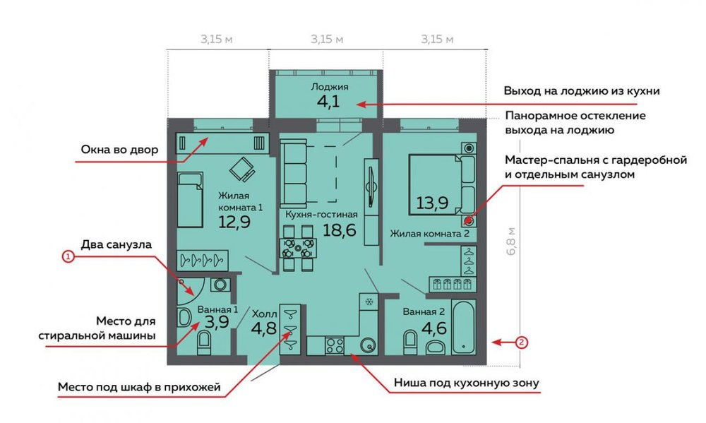 Екатеринбург, ул. Данилы Зверева, 17а (Пионерский) - фото квартиры (1)