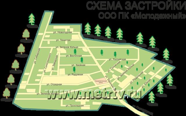 Схема застройки.  Коттеджный поселок Молодежный.  Екатеринбург Первоуральск.